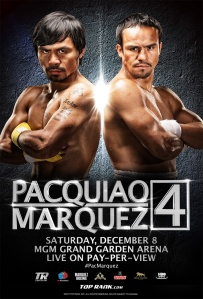 8 division World Champion, Manny Pacquiao (pictured left) and 4 division World Champion, Juan Manuel Marquez, faced off in what turned out to be an epic fourth and memorable clash.