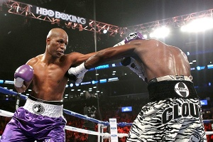 Bernard Hopkins, 48, (53-6-2, 32 KOs), pictured left, topped himself this past Saturday night.  After twelve impressive rounds by Bernard Hopkins over a game Tavoris Cloud, Hopkins became once again the oldest fighter in the history of boxing to become a world champion.