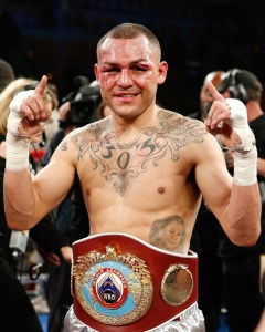 Mike Alvarado looking very pleased moments following his revenge victory over Brandon Rios.  The crowd pleasing show the two put on left fans viewing clamoring for a third bout.