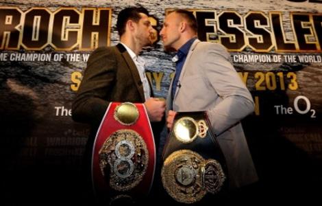 Mikkel Kessler, Copenhagen, Denmark, (46-2, 35 KOs) is looking to unify his world championship against fellow world championship, pictured left, Carl Froch, Nottingham, United Kingdom, (30-2, 22 KOs).