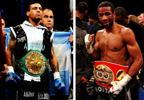 Lucas Matthysse, pictured on the right hand side, will be squaring off with Lamont Peterson for Peterson's IBF world championship at a 140 pounds.