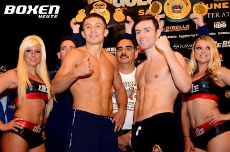 Golovkin, pictured left, looks to remain undefeated against his stiffest test yet, Mathew Macklin.