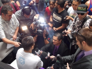 Marcos Maidana is embraced by tons of media members anxious to ask the WBA welterweight world champion their questions.