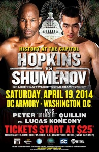 Saturday night in our nation's captial, Bernard Hopkins (54-6-2, 32 KOs), and Beibut Shumenov (14-1, 9 KOs), look to unify the IBF-WBA world championships in the light heavyweight division.