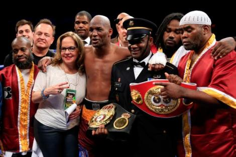 Bernard Hopkins (55-6-2, 32 KOs) is all smiles after defeating Beibut Shumenov (14-2, 9 KOs), to unify the IBF and WBA world titles at light heavyweight.