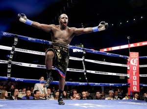 Bermane Stiverne(24-1-1, 21 KOs), celebrates the biggest win of his career after stopping Chris Arreola (36-4, 32 KOs), in the sixth round.